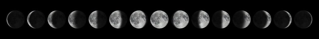 участки полнолуния старые молодые Цикл луны лунный Стоковые Изображения