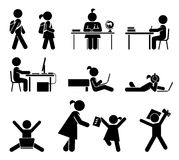 Учебные дни Комплект значка пиктограммы Ребеята школьного возраста Стоковые Изображения