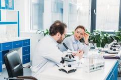 ученые в пальто и eyeglasses лаборатории обсуждая работу на рабочем месте стоковые изображения