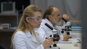 Ученые работая на микроскопах в лаборатории