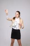 Ученый женщины с моделью атома, концепцией исследования Стоковое Изображение RF