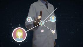 Ученый, значок инженера касающий человеческий, соединяясь люди, сеть дела социальный значок обслуживания СМИ 1 иллюстрация штока