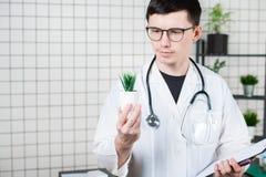 Ученый проводит эксперименты с зеленым растением стоковые фото