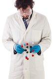 Ученый смотря молекулу tnt Стоковые Фото
