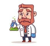 Ученый со склянкой в его руках E иллюстрация штока