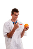 Ученый счастливый к впрыскивать GMO в плодоовощ Стоковые Фото