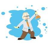 Ученый шаржа, доктор, профессор с склянкой Стоковое Изображение