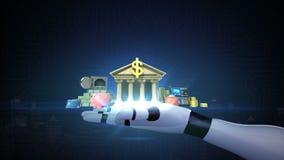 Учет банка управления безопасный, онлайн автономная жизнь банка на руке робота иллюстрация штока