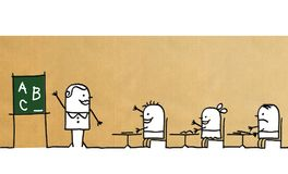 Учитель и дети шаржа на школе иллюстрация штока