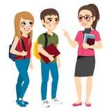 Учитель разговаривая с стоять студентов иллюстрация вектора