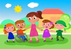 Учитель с детьми приближает к школе Стоковое Изображение RF