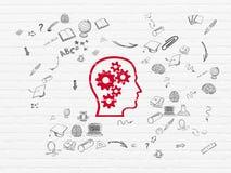 Учить концепцию: Голова с шестернями на стене Стоковое Изображение