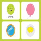 Учить овальную форму формы усмехаться стороны Милый персонаж из мультфильма Воздушный шар, зеркало, раковина яичка с младенцем ch иллюстрация вектора