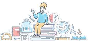 Учить - современная красочная линия иллюстрация стиля дизайна Бесплатная Иллюстрация