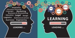 Учить с концепцией 2 человеческих голов Стоковые Фотографии RF