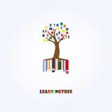 Учить шаблон логотипа дерева Образование, письма, книги стоковое изображение rf