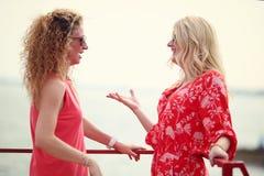 2 лучшего друга смеясь над в летнем дне Стоковые Изображения