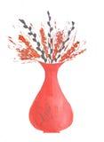 Уши акварели одичалые в вазе на белой предпосылке Стоковое фото RF
