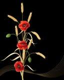 Уши и маки пшеницы Стоковые Изображения RF