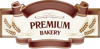 Уши пшеницы золота на элегантной коричневой предпосылке Templat логотипа хлебопекарни иллюстрация штока