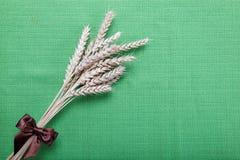Уши пшеницы на зеленом цвете. Стоковое Изображение