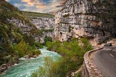 Ущелье Вердон, Провансаль, Франция: ландшафт каньона реки стоковые фотографии rf