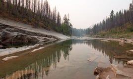 Ущелье заводи луга на южной вилке Flathead реки в районе дикой природы Bob Marshall в Монтане США Стоковые Изображения