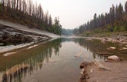 Ущелье заводи луга на южной вилке Flathead реки в районе дикой природы Bob Marshall в Монтане США Стоковая Фотография RF