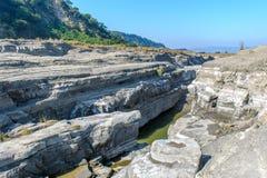 Ущелье реки Daan, Taichung, Тайваня Стоковые Фото