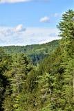 Ущелье Quechee, деревня Quechee, городок Hartford, Windsor County, Вермонта, Соединенных Штатов стоковое фото rf