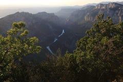 Ущелья Вердон на заходе солнца, каньон Verdon, Франция стоковое фото