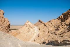 Ущелье горы в пустыне без влияний Стоковые Изображения