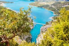 Ущелье du Verdon, Провансаль в Франции, Европе Красивый вид на lac de sainte-croix Стоковые Фото