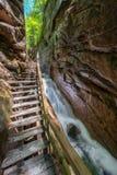 Ущелье Flume в парке штата зазубрины Franconia, Нью-Гэмпшир Стоковая Фотография RF