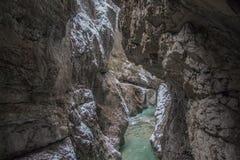 Ущелье Partnach в зимнем времени Garmisch-Partenkirchen Германия Стоковые Фото