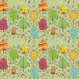 Уютная безшовная картина о чае леса Стоковое Изображение RF