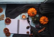 Уютная предпосылка осени, тетрадь, декоративные тыквы, высушенные апельсины, свеча, гайки, циннамон и листья осени Стоковые Фотографии RF