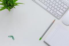 Уютная современная тема дела на белой таблице с зеленым карандашем Стоковые Фотографии RF