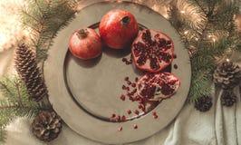 Уютное утро зимы дома с плодами Гранатовое дерево в составе зимы, рождественские елки, конусы в опарнике на предпосылке стоковые изображения