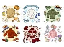 Уютное hygge doodles набор собрания Милые стикеры бесплатная иллюстрация