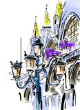 Уютные дворы Венеции бесплатная иллюстрация