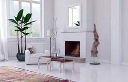 Уютный белый интерьер живущей комнаты с камином иллюстрация штока