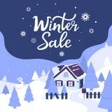 Уютный дом в горах ландшафт с елями и оленями Литерность руки продажи зимы на рождество и Новый Год бесплатная иллюстрация