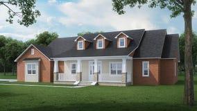 Уютный дом кирпича с большими садом и лужайкой Домашний экстерьер день солнечный иллюстрация штока