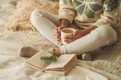 уютный дом Красивая девушка читает книгу на кровати доброе утро с чаем детеныши девушки довольно ослабляя Концепция чтения стоковая фотография rf