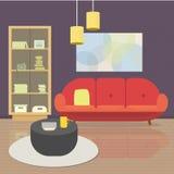Уютный интерьер живущей комнаты с мебелью и окном Плоская иллюстрация вектора стиля стоковые изображения rf