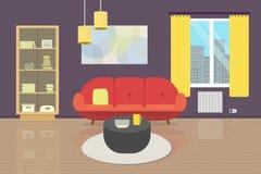 Уютный интерьер живущей комнаты с мебелью и окном Плоская иллюстрация стиля софа, bookcase, таблица, лампы, ковер, стена p стоковое фото