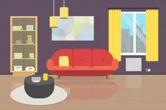 Уютный интерьер живущей комнаты с мебелью и окном Плоская иллюстрация стиля софа, bookcase, таблица, лампы, ковер, стена p стоковое изображение