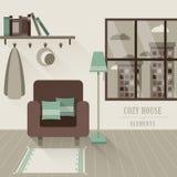 Уютный интерьер дома в плоском стиле дизайна иллюстрация вектора
