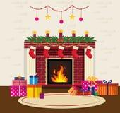 Уютный интерьер рождества иллюстрация штока